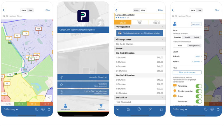 Parkplatz Finder App Parkopedia