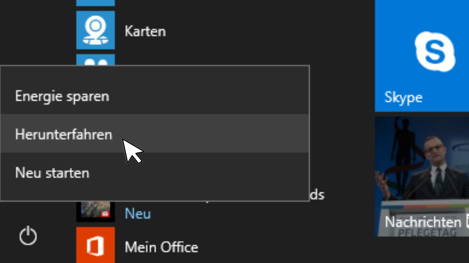 Windows 10 Schnelles Herunterfahren