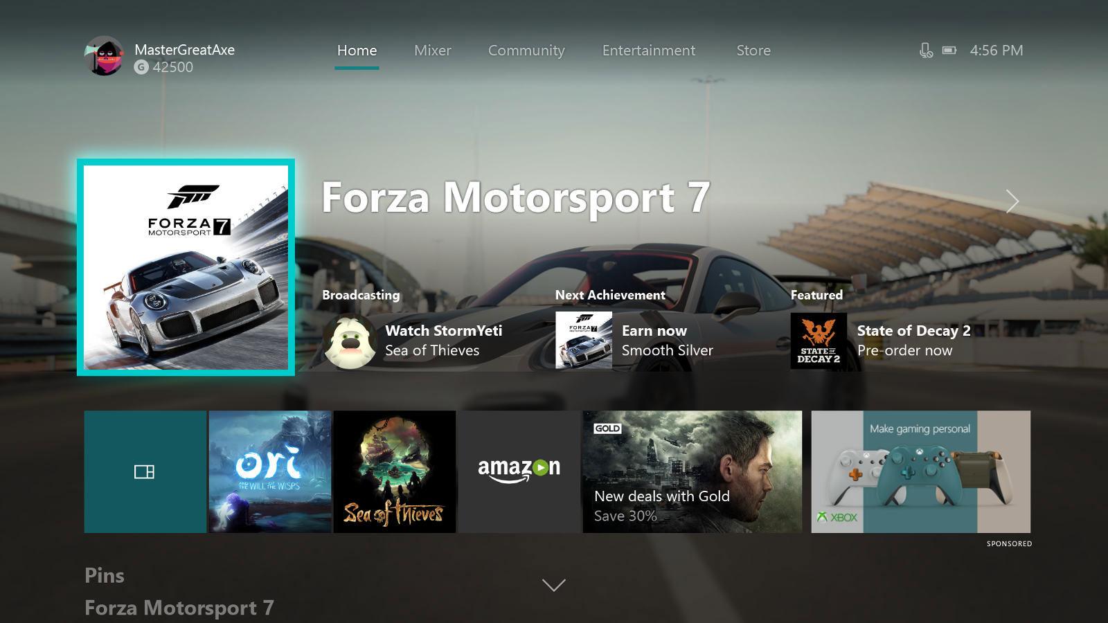 Xbox One Dashboard mit Forza Motorsport 7