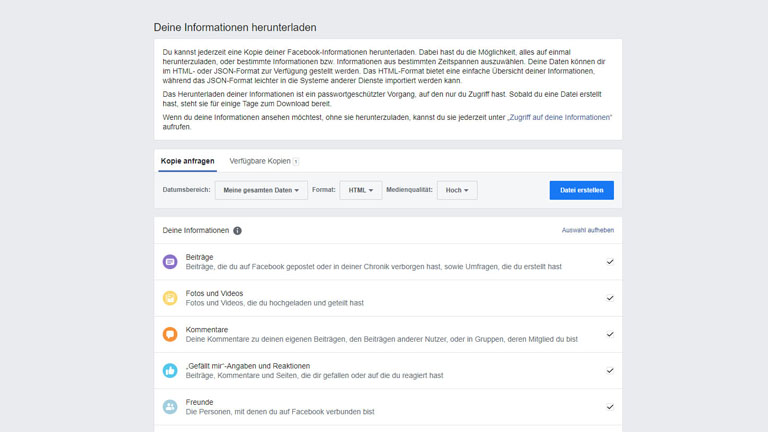 Facebook Daten herunterladen und sichern