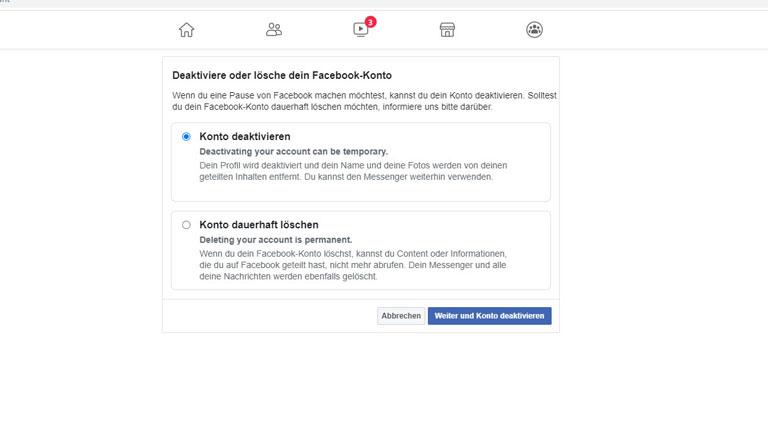 Facebook Account löschen oder deaktivieren