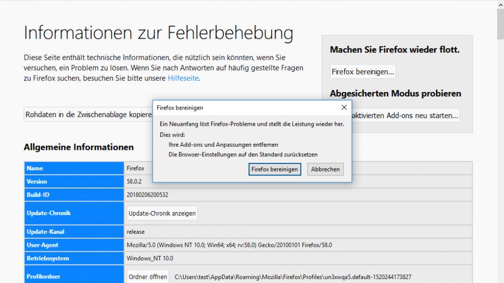 Firefox bereinigen unter Windows 10