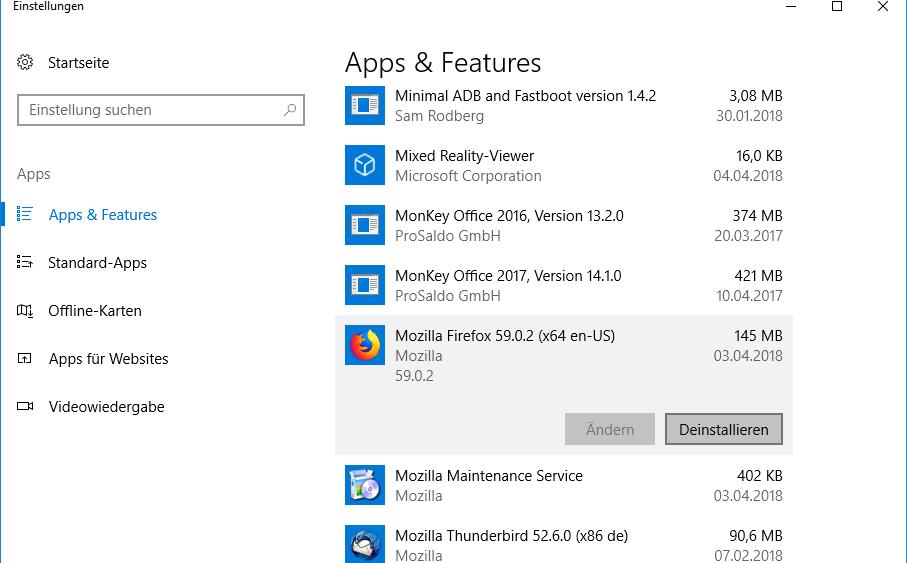 Firefox deinstallieren in Windows 10