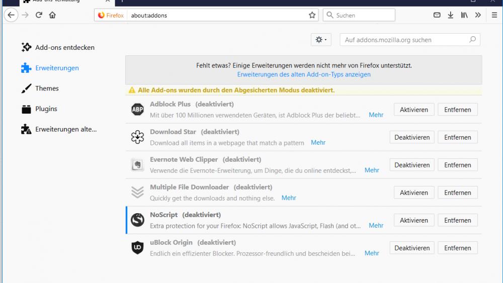 Add-ons entfernen in Firefox