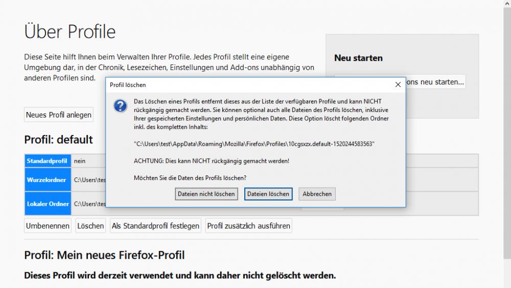 Firefox bereinigen unter Windows 10: Profil löschen