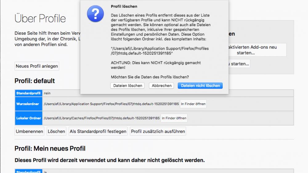 Screenshot Firefox bereinigen unter macOS: Profil löschen