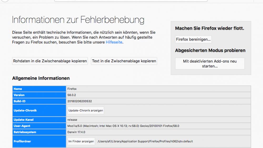 Firefox bereinigen unter macOS