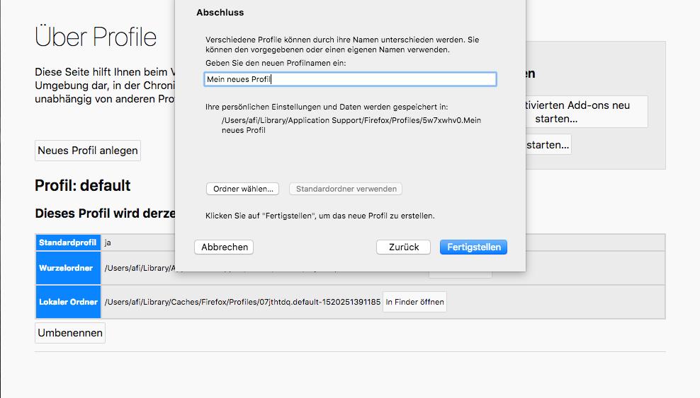 Firefox bereinigen unter macOS: Profil aktivieren