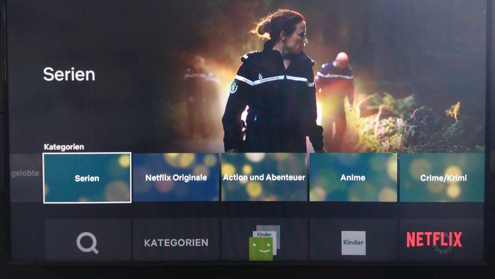 Netflix-TV-Oberfläche mit bisherigem Menü