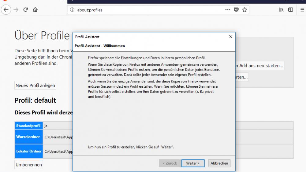 Firefox bereinigen unter Windows 10: Profil-Assistent