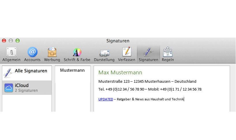 Signatureinrichtung in Mac Mail