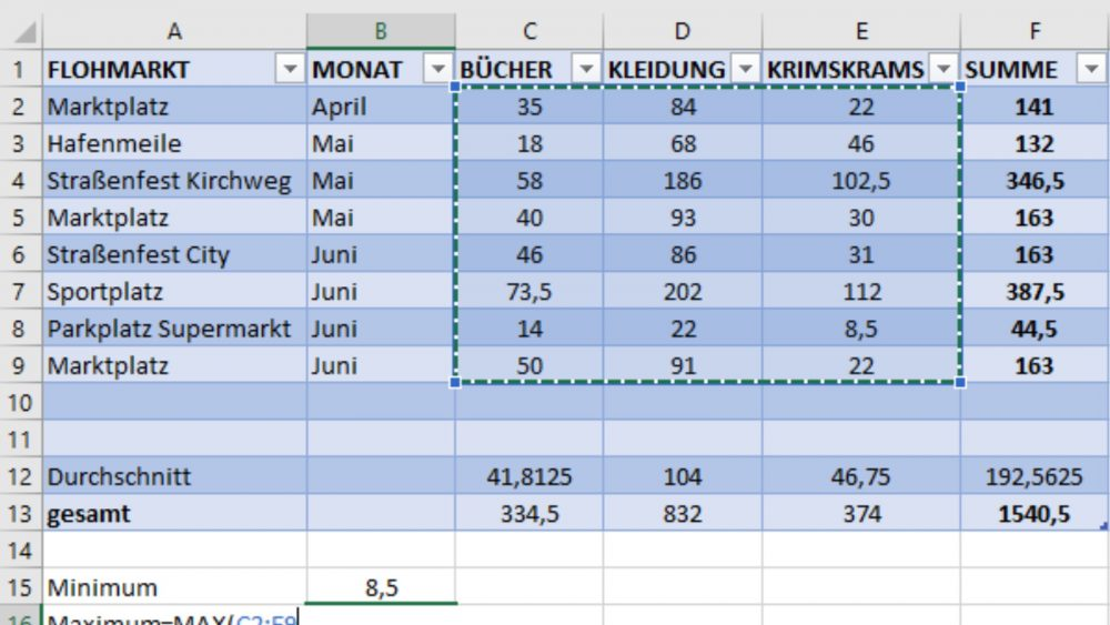 Excel-Tabelle Formel anpassen
