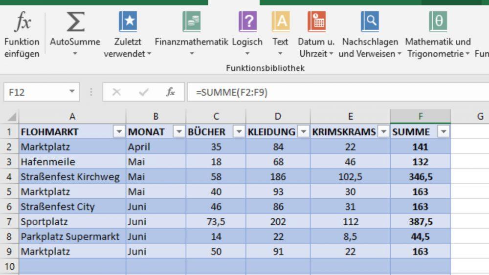 Excel-Tabelle Formeln Beispiel
