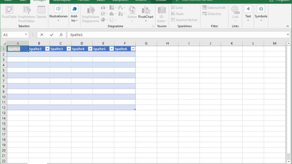 Excel Tabelle neu erstellen