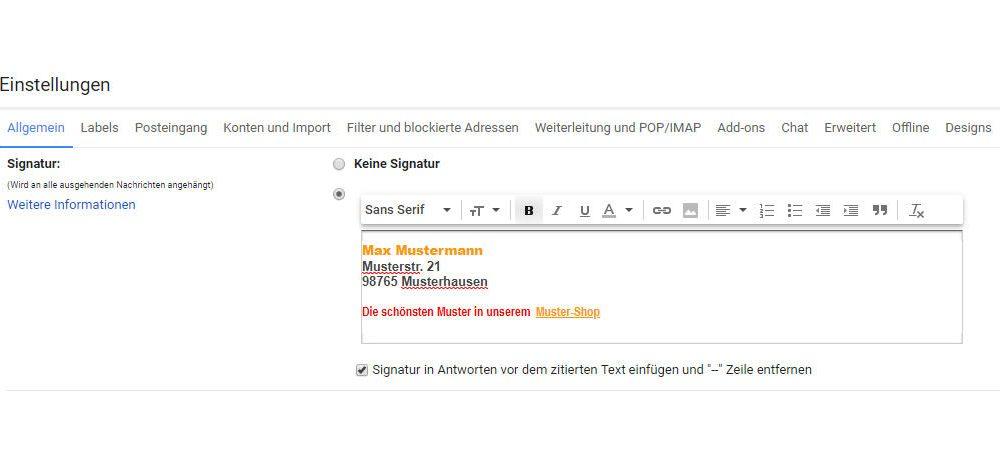 Signatureinrichtung in Google Mail