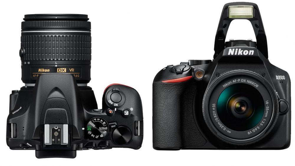 Nikon Kamera in Frontansicht und von oben
