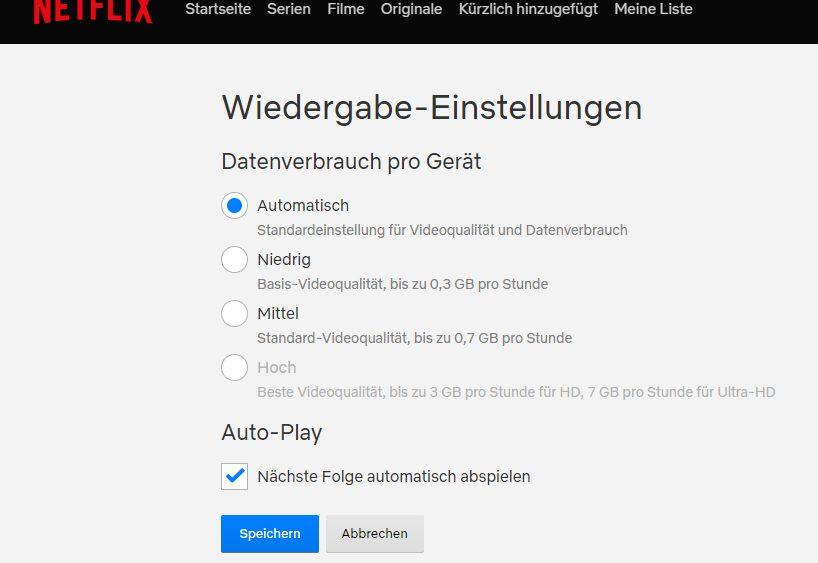Screenshot Wiedergabe-Einstellungen bei Netflix