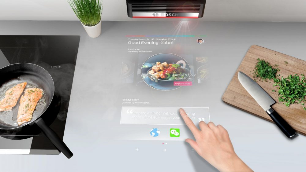 Projiziertes Bild auf Küchen-Arbeitsplatte