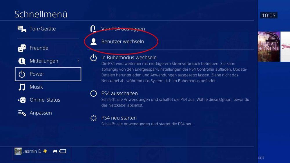 PS4: Benutzer wechseln über Schnellmenü