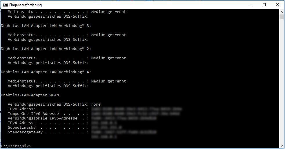 Eingabeaufforderung-Fenster mit IP-Adresse