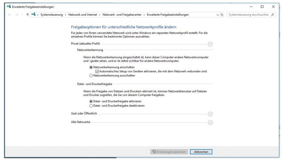 Windows-10-Fenster Erweiterte Freigabeeinstellungen