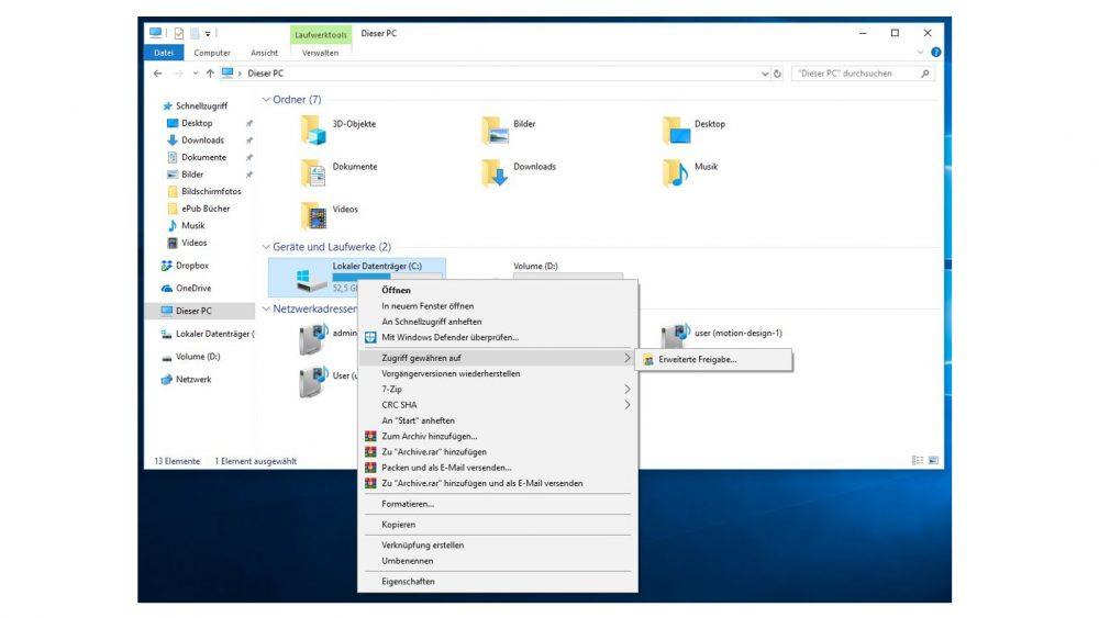 Windows-10-Explorer: Rechtsklick auf Festplatte und Zugriff gewähren auf