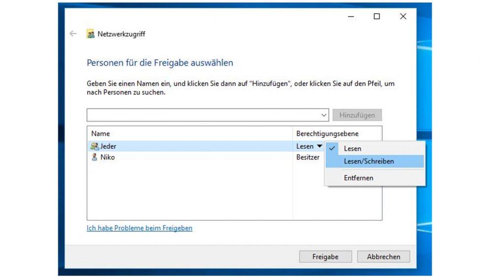 Windows-10-Fenster: Personen für die Freigabe auswählen und Lese-Schreib-Berechtigungen
