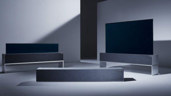 Drei Modelle rollbarer LG-TV