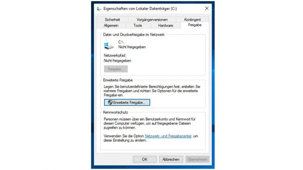 Windows-10-Fenster: Eigenschaften von Lokaler Datenträger