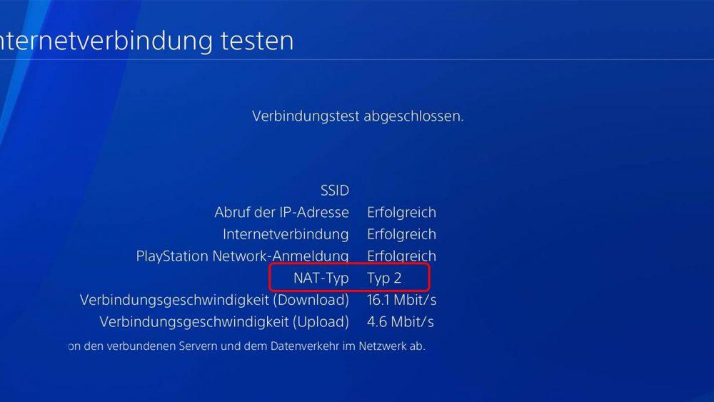 Internetverbindung an PS4 testen um NAT-Typ zu erfahren