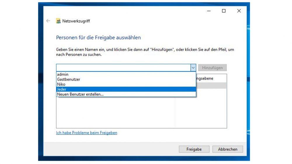 Windows-10-Fenster: Personen für die Freigabe auswählen
