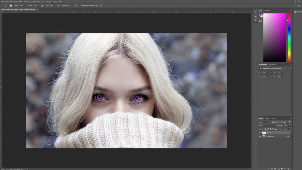 Augen mit Photoshop lila färben