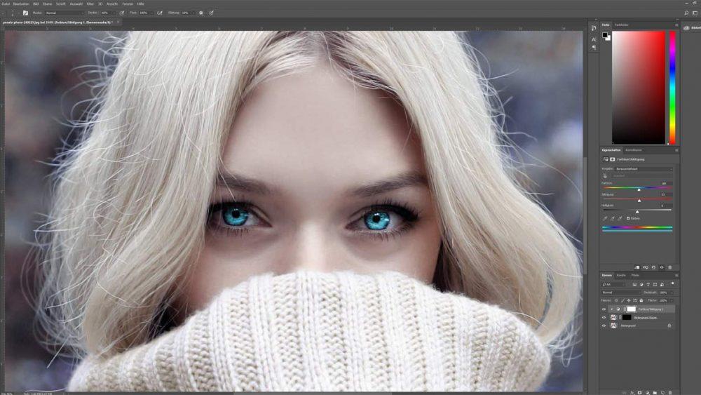 Mit Photoshop Augen türkisblau färben