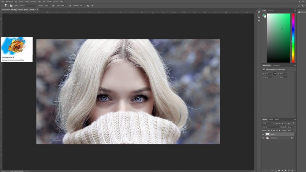 In Photoshop Augen färben mit dem Pinsel-Tool