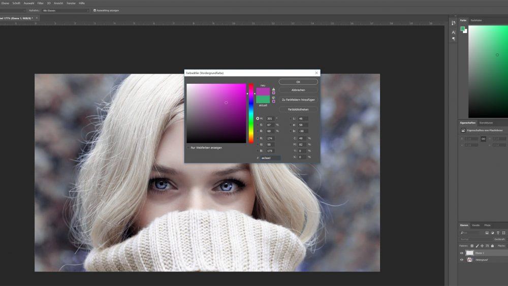 Farbe in Photoshop auswählen, in der du die Augen färben willst
