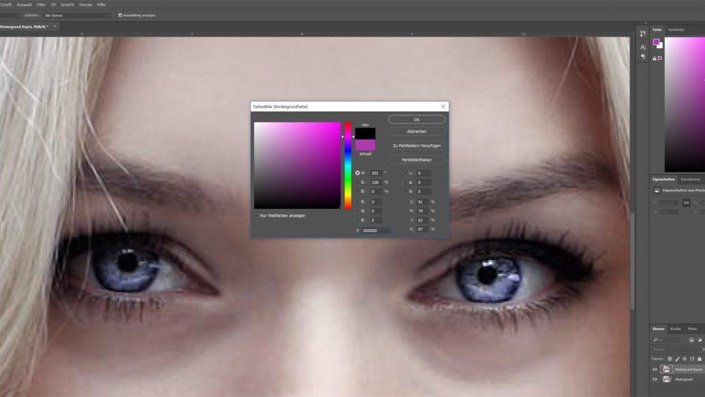 Vordergrundfarbe bei Photoshop auf Schwarz stellen