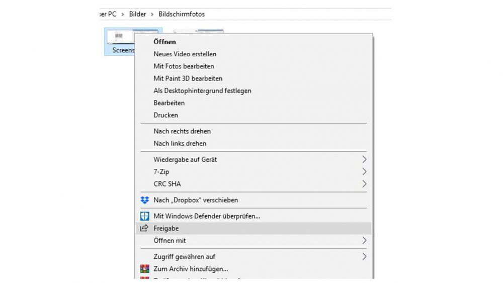 Windows-10-Explorer: Rechtsklick auf Date