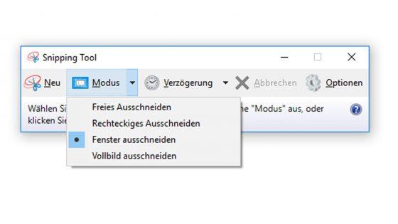 Screenshot Snipping Tool: Modus