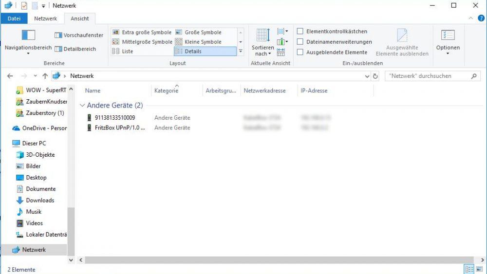 Netzwerk-Fenster mit neuer Spalte IP-Adressen