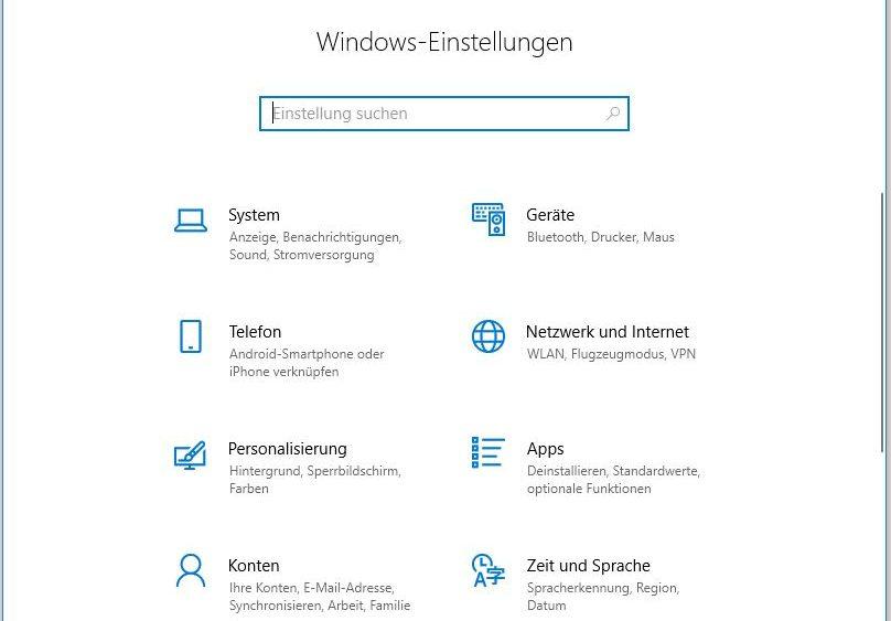 Windows-10-Fenster Einstellungen, um Netzwerk und Internet zu erreichen