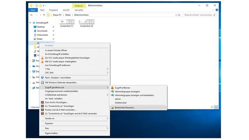 Windows-10-Explorer: Rechtsklick auf Datei und Zugriff gewähren auf