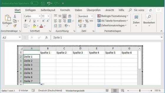Excel-Tabelle in Word einfügen: Zahlenreihe