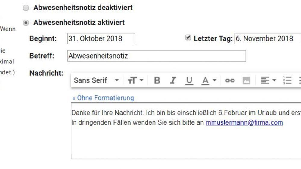 Abwesenheitsnotiz bei Gmail einrichten
