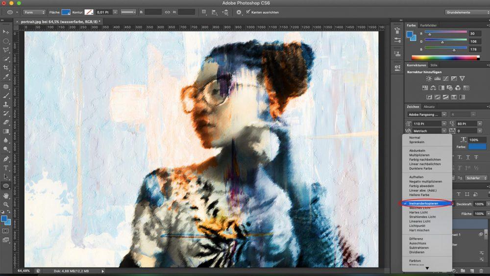 Ebenen mischen, um bei Photoshop Aquarell-Effekt zu erzeugen