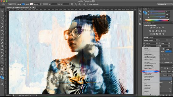 Photoshop Aquarell-Effekt: Ebenen mischen