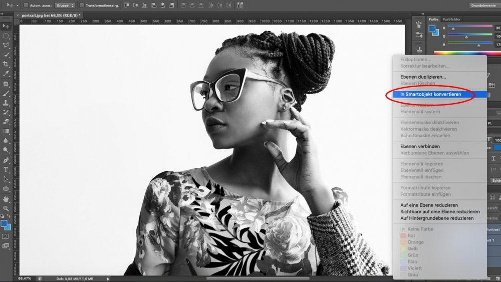 Ebenen bei Photoshop in Smartobjekt konvertieren