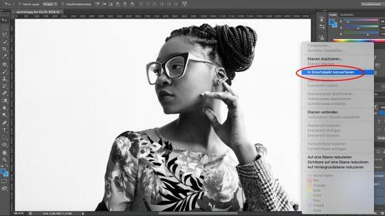 Photoshop Aquarell-Effekt: In Smartobjekt konvertieren