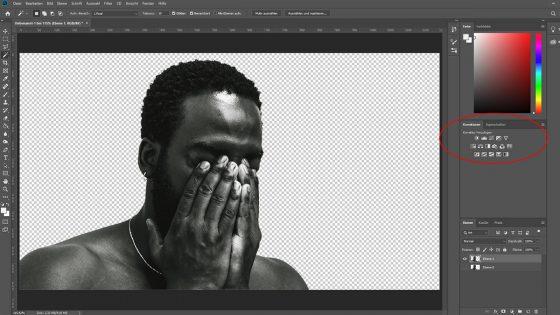 Photoshop Duotone-Effekt: Korrekturen schwarzweiß-Foto