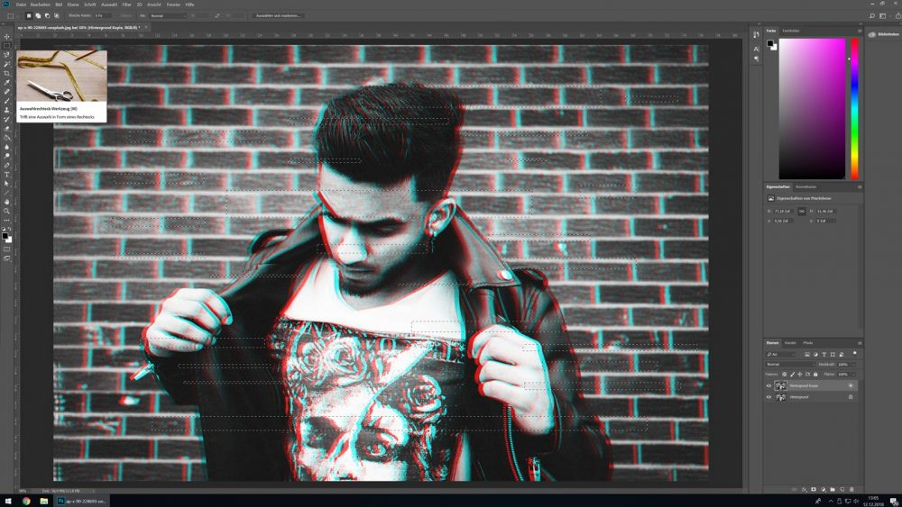 Auswahl in Photoshop verschieben, um Glitch-Effekt zu erzeugen