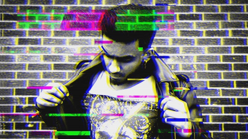Glitch-Effekt mit Scanlines in Photoshop verzerren das Bild eines jungen Mannes